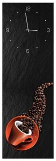 Wanduhr aus Glas 20x60cm Uhr als Glasbild Kaffee Bohnen Design Deko