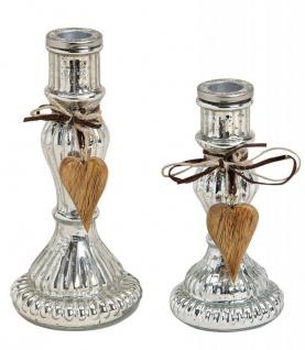 2er Set Kerzenständer H20cm H16cm Kerzenhalter Tischdeko Kerzenleuchter Deko