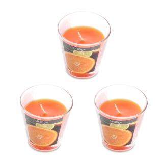 levandeo 3er Set Duftkerzen im Glas 9cm Hoch Orange Kerze Windlicht Deko