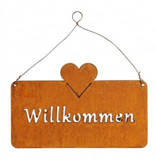 Schild Willkommen 25x9cm Außen Garten-Deko Rost Herz Eisen Türschild Wandbild