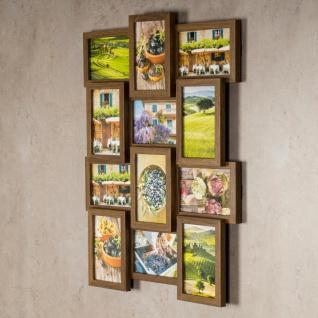 levandeo Bilderrahmen Collage 45x58cm 12 Fotos 10x15 Nussbaum MDF Holz Glas - Vorschau 2