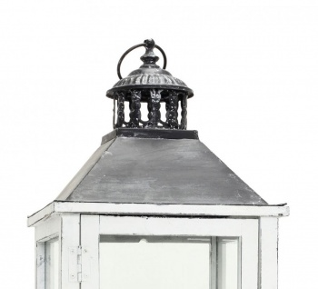 2tlg. Laternen Set Holz weiß Metall Glas Shabby Chic Garten Gartendeko - Vorschau 2