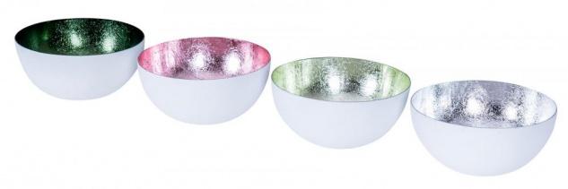 4er Set Teelichthalter Metall Pastell Bunt Grün Schale Kerzenhalter Tischdeko