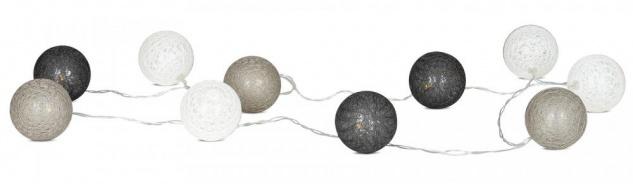 10er Lichterkette LED Ø6cm Kugeln Girlande Lampions Baumwolle Grau Deko