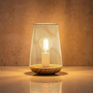 Tischlampe Metall Weiß H22cm Holz Lampe Standleuchte Leuchte Deko Tischdeko - Vorschau 4