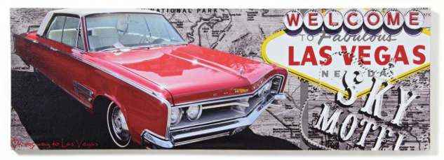 Wandbild Route 66 Las Vegas Auto USA Motel Leinwandbild 30x90cm