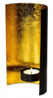 Teelichthalter Schwarz Gold 11x19cm Windlicht Metall Kerzenhalter Wanddeko Deko