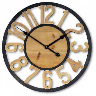 Wanduhr 40x40cm Uhr Holz Braun Küchenuhr Wanddeko Dekoration Zahlen