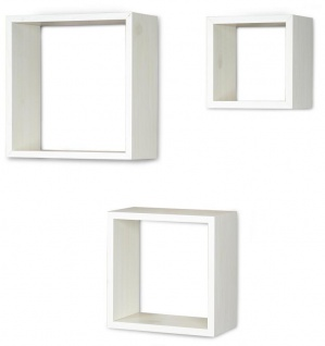 3er Set Cube Wandregal Regal 25cm 20cm 15cm Holz Ahorn Dekor Weiß Würfelregal