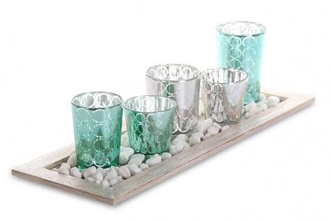 Tablett Teelichthalter Set 42, 5x15x2cm Holz Glas Windlichter Deko