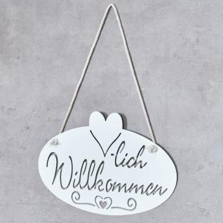Schild Willkommen Herz 28, 5x16cm Garten-Deko Türschild Weiß Wandbild Aufhänger - Vorschau 3