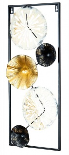 3D Wandbild H60cm Ringe Metall Weiß Schwarz Gold Deko Teller Wanddeko Design