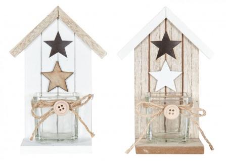 2er Set Teelichthalter H16, 5cm Glas Windlicht Stern Weiß Taupe Haus Holz Deko