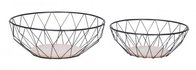 2er Set Korb Metall Schwarz Modern Holz MDF Braun Schüssel Schale Deko Design