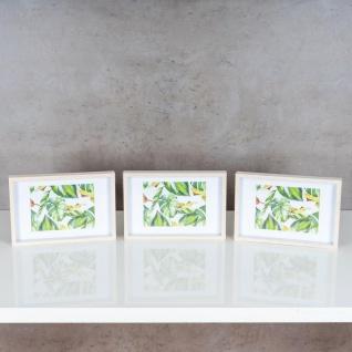 3er Set Bilderrahmen 15x20cm Eiche Natur Echtholz Fotorahmen Einzelrahmen Weiß