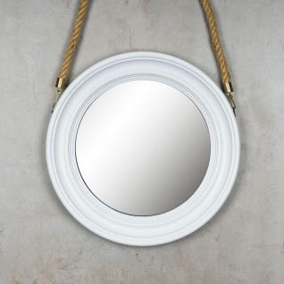 Spiegel 40cm Rund Wandspiegel Flurspiegel Weiß mit Kordel Wanddeko Deko - Vorschau 2