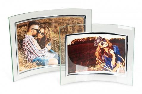 2er Set geschwunge Bilderrahmen aus Glas 10x15cm und 13x18cm Fotorahmen Bild