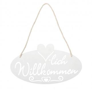 Schild Willkommen Herz 28, 5x16cm Garten-Deko Türschild Weiß Wandbild Aufhänger