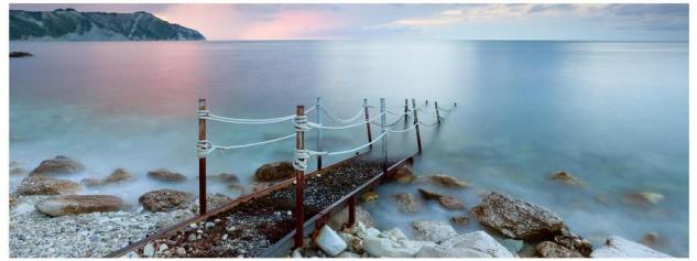 Glasbild 80x30cm Wandbild aus Glas Meer Ozean Steg Strand Küste - Vorschau 1