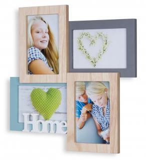Bilderrahmen 4 Fotos 33x33cm 10x15 Holz Natur Home Collage Fotorahmen