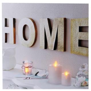 Wandbild LED Bild 40x40 Home Wellness Kerzen Spa Feng Shui Wanddeko Leinwandbild