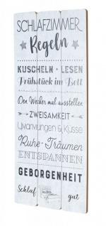 Holzschild 30x60cm Schlafzimmer Regeln Weiß Spruch Deko Wandbild Schild Wanddeko