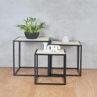 3er Set Beistelltisch Metall Schwarz Holz Cube quadratisch Couchtisch Deko Tisch - Vorschau 4