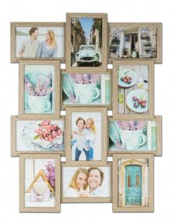 levandeo Bilderrahmen Collage 45x58cm 12 Fotos 10x15 Eiche gekälkt MDF Holz Glas