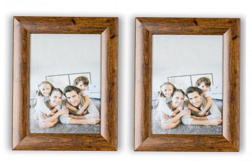2er Set Bilderrahmen Holz Optik Braun 13x18 Foto Rahmen Glasscheibe Tischdeko