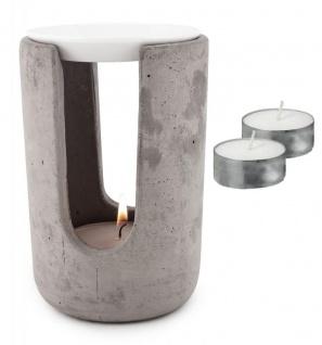 Duftlampe Beton Weiß 10x15cm inkl. 2x Teelicht Tischdeko Teelichthalter Aroma