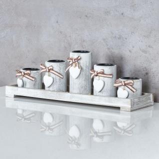 Teelichthalter Set Tablett 39x15x12cm Holz Shabby Chic Vintage Windlicht Deko - Vorschau 3