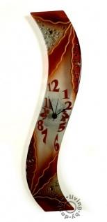 Design Wanduhr 50x8cm Brown Details aus Glas Glasuhr Unikat Handarbeit