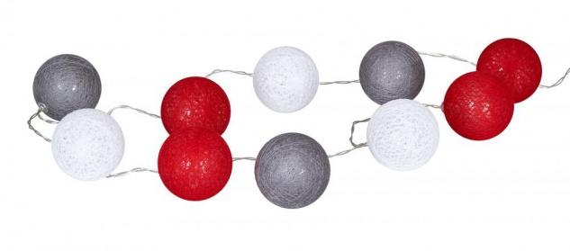 10er Lichterkette Ø4cm LED Kugeln Rot Grau Girlande Lampions Baumwolle Deko