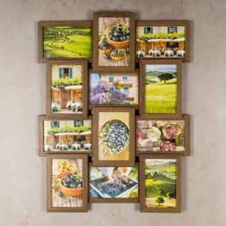 levandeo Bilderrahmen Collage 45x58cm 12 Fotos 10x15 Nussbaum MDF Holz Glas - Vorschau 3