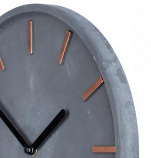 Hochwertige Beton-Uhr Wanduhr 30cm Grau Kupfer Uhrzeit modern Wanddeko - Vorschau 3
