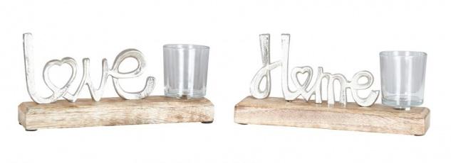 2er Set Teelichthalter 22x11cm Love Home Mango Holz Windlicht Kerze Glas Deko