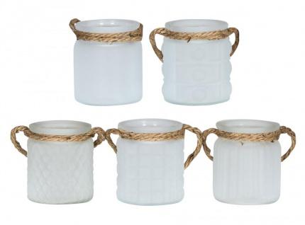 5er Set Windlicht H10cm Glas Weiß Klar Teelichthalter Tischdeko Kerzen Deko