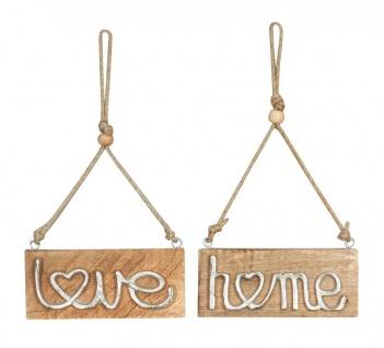 2er Set Schild BxH 18x8cm Metall Mango Love Home Holz Wandbild Türschild Deko