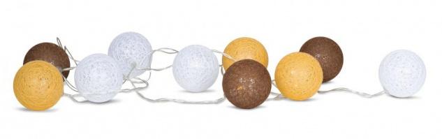 10er Lichterkette LED Kugeln Lampions Baumwolle Braun Weiß Cotton Warmweiß Deko