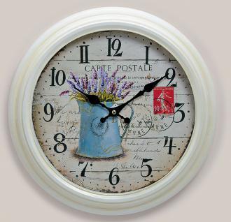 Wanduhr Metall 37cm weiß - Lavendel Nostalgie Landhaus Uhr