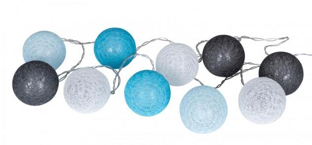 10er Lichterkette LED Ø6cm Kugeln Girlande Lampions Baumwolle Blau Grau Deko