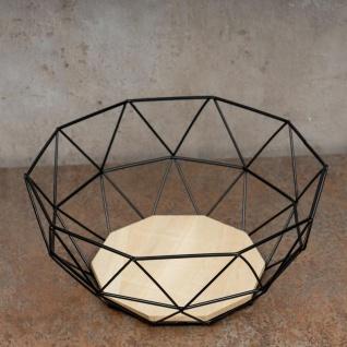 Korb Metall Schwarz 26x12cm Modern Holz MDF Braun Schüssel Schale Deko Design - Vorschau 3