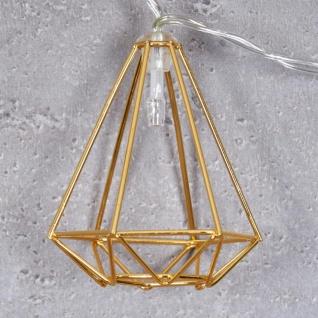 10er Lichterkette LED Metall Gold Diamant Licht Beleuchtung Deko Industrial - Vorschau 4