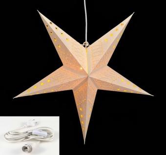 Leuchtstern 5 Zacken creme weiß 60cm Papiertstern inkl Kabel