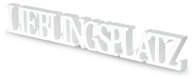 Schriftzug Lieblingsplatz L60cm Weiß Holz Tischdeko Deko Aufsteller Wohndeko