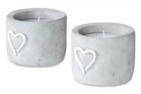2er Set Kerzen Beton H7cm Kerzenständer Herz Kerzenhalter Dekoration Tischdeko