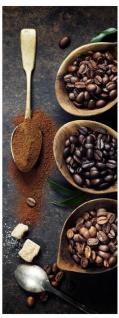 Glasbild 30x80cm Wandbild aus Glas Kaffee Bohnen Café Wanddekoration