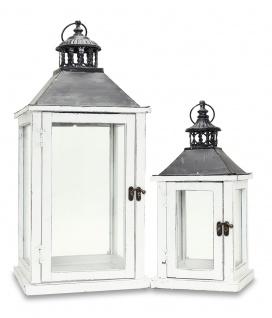 2tlg. Laternen Set Holz weiß Metall Glas Shabby Chic Garten Gartendeko