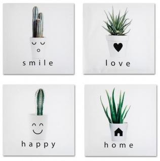 4er Set Wandbild Je 28x28cm Pflanze Grün Sukkulente Kaktus Kakteen Love Home