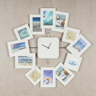 Wanduhr 40, 5x42, 5cm Weiß Bilderrahmen Foto-Uhr 12 Fotos Fotogalerie - Vorschau 2